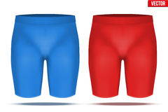 Under layer compression trousers of thermo fabric. Base layer compression trousers of thermo fabric. Sample typical technical illustration. Red and blue color Stock Photos