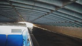 Under the longest bridge. Under the longest bridge of the river Moyka in St. Petersburg. Blue bridge stock footage
