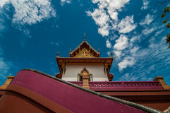 Under looking view pagoda with blue sky background Royalty Free Stock Photography