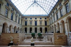 Under the Louvre Pyramid in Paris Royalty Free Stock Images