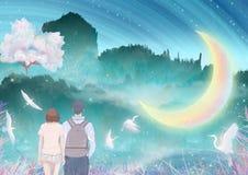 Under månefloden kysser kramar par och tillsammans den utomhus- klättringen, kranar i de körsbärsröda träden som flyger att förpa royaltyfri illustrationer