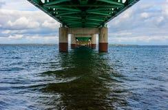 Under Mackinac Bridge, Mackinaw City, MI, USA. Under the Mackinac Bridge, Mackinaw City, MI, USA. Foundation of bridge Stock Photo