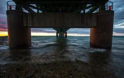 Under The Mackinaw Bridge in Michigan. Royalty Free Stock Image