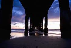 Under the Manhattan Beach Pier. Los Angeles County, California royalty free stock image