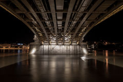 Under the margit bridge in budapest, hungaria Royalty Free Stock Photography