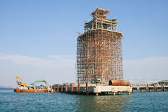 Under marine construction thai temple Royalty Free Stock Photos