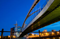 Under the millennium bridge Manchester Royalty Free Stock Photo