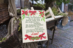 Under the mistletoe poem. Christmas poem about love and mistletoe in the streets of deventer, netherlands stock photography