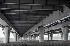 Under modern automotive bridge Royalty Free Stock Photography