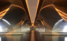 Under a modern Bridge. Image under a modern bridge taken from a futuristic angle Stock Photography