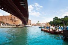 Under modern bridge in Venice Royalty Free Stock Photo