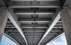 Under modern metal bridge. Bottom elements of modern metal bridge Stock Photo
