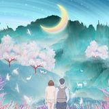 Under the moon river, couples kiss and hug together outdoor climbing, cranes in the cherry trees flying illustration packaging stock illustration
