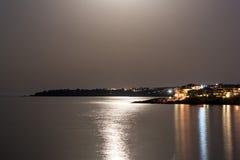 Under the moon. View of the bay, Sozopol, Bulgaria Stock Photos