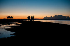 Under the moonlight of the Chinese Qinghai Lake,Qinghai lake of the night under the tourists Stock Images