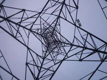 Under a network tower. View from ground from underneath tower royalty free stock images