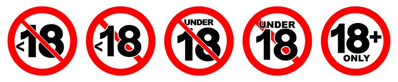 Under 18 not allowed sign. Number eighteen in red crossed circle.  Stock Photos
