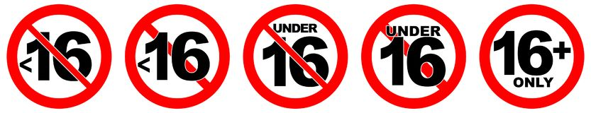 Under 16 not allowed sign. Number sixteen in red crossed circle royalty free illustration