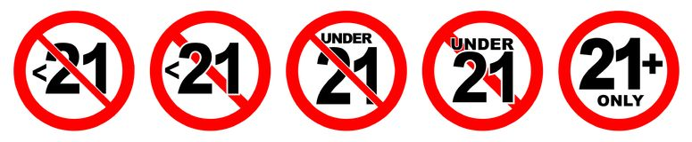 Under 21 not allowed sign. Number twenty one in red crossed circ. Le Royalty Free Stock Image