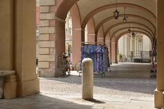 Under old arcades, Busseto Stock Image