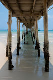 Under old and break sea wood bridge pier  to harbor in Koh Kood Royalty Free Stock Photo