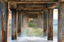 Under old concrete bridge Stock Image