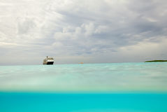 Under and over the waves with a dramatic sky Royalty Free Stock Image