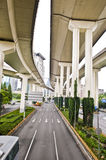 Under the overfly. Under the newly built modern overbridge Stock Photos