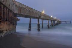 Under Pacifica Municipal Pier At Dusk. Stock Photo