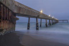 Under Pacifica Municipal Pier at Dusk. Stock Photo