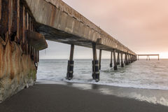 Under Pacifica Municipal Pier at Sunset. Royalty Free Stock Photos