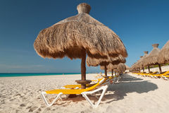 Under parasol. At Caribbean Sea, Mexico Royalty Free Stock Photos