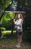 Under a parasol Stock Photos