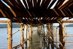 Under part of bamboo bridge Stock Photo