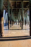 Under the pier. A view from under the pier at Old Orchard Beach in Maine Royalty Free Stock Photos