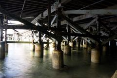 Under the pier. Wooden pilings under a pier Stock Images