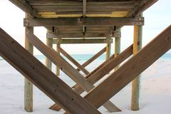 Under the pier. Destin Floridas amazing beaches and a view from under the pier Royalty Free Stock Image