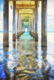 Under a Pier,  La Jolla California Stock Photo
