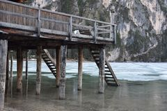 Under the pier lake braies dolomites italy south tyrol Royalty Free Stock Photo