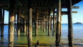 Under the Pier. Looking down the pier from below. HD 1080 stock video footage