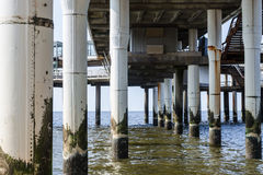Under the pier of Scheveningen with a view of the North Sea Royalty Free Stock Photo