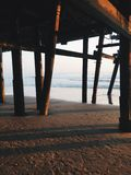 Under pier. At the beach. Photo taken in Southern California stock photo