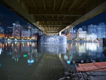 Under a Pittsburgh Bridge. Under a urban Pittsburgh bridge at night Royalty Free Stock Images