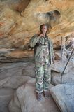 Under police guard. LAS GIL, SOMALIA - JANUARY 9, 2010: Complex of caves with petroglyphs is the most significant monument of the epoch of the neolith in Africa Royalty Free Stock Image