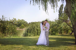Under the poplars. Loving couple embracing on a riverside Stock Photography