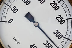 Under pressure. An old pressure gauge shows that the pressure is building stock photography