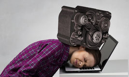 Under pressure of problems . Mixed media Royalty Free Stock Photo