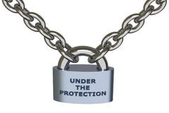 Under the protection. 3D design vector illustration