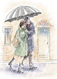 Under the rain. Couple are walking under the rain with an umbrella Royalty Free Stock Photography