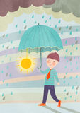 Under the rain. Smiling boy under the rain illustration Stock Photography